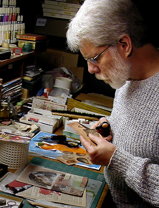 John Andrew Dixon in his collage studio