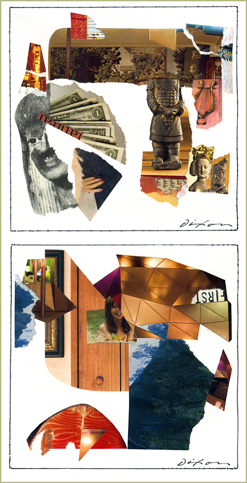 a pair of journal studies by John Andrew Dixon, The Collage Miniaturist