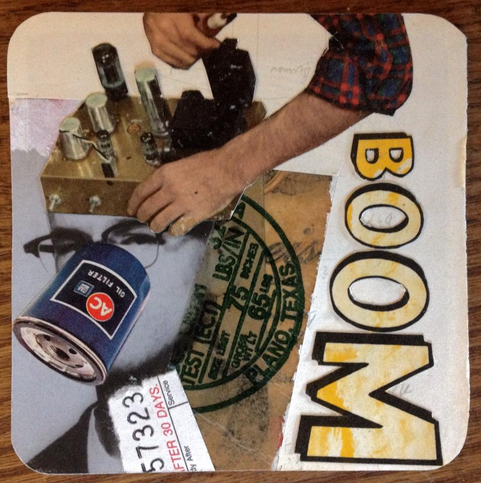 As Seen On TV ~ a collage on beer coaster collaboration ~ start by John Andrew Dixon, finish by Ted Tollefson