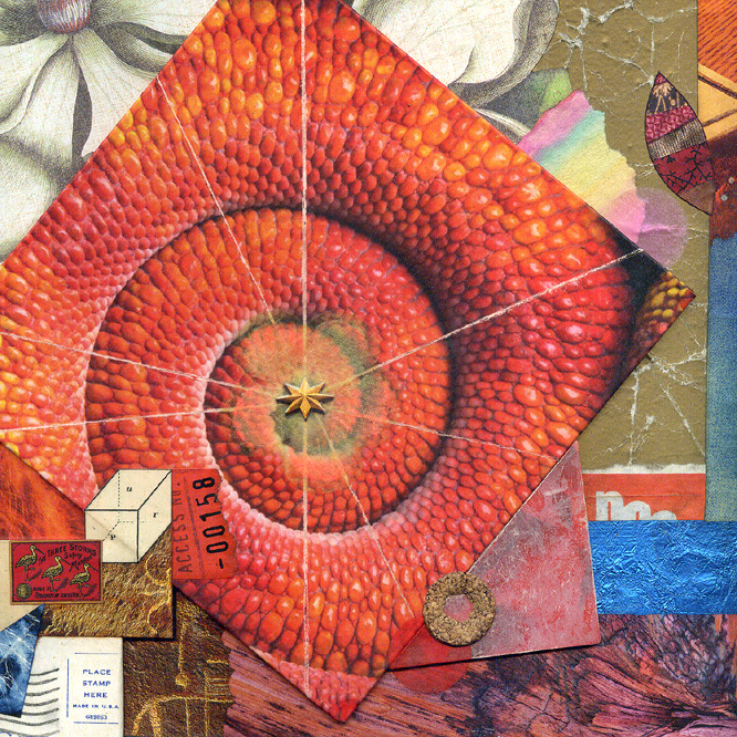 square crop ~ detail from Contemplation Ajar ~ John Andrew Dixon ~ The Collage Miniaturist