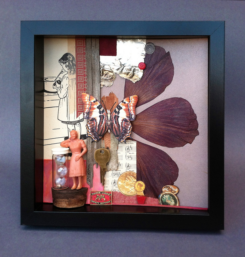 Hertopia ~ collage/assemblage in shadow box frame by John Andrew Dixon