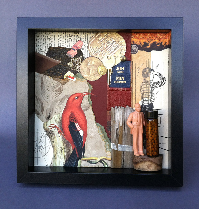 Histopia ~ collage/assemblage in shadow box frame by John Andrew Dixon