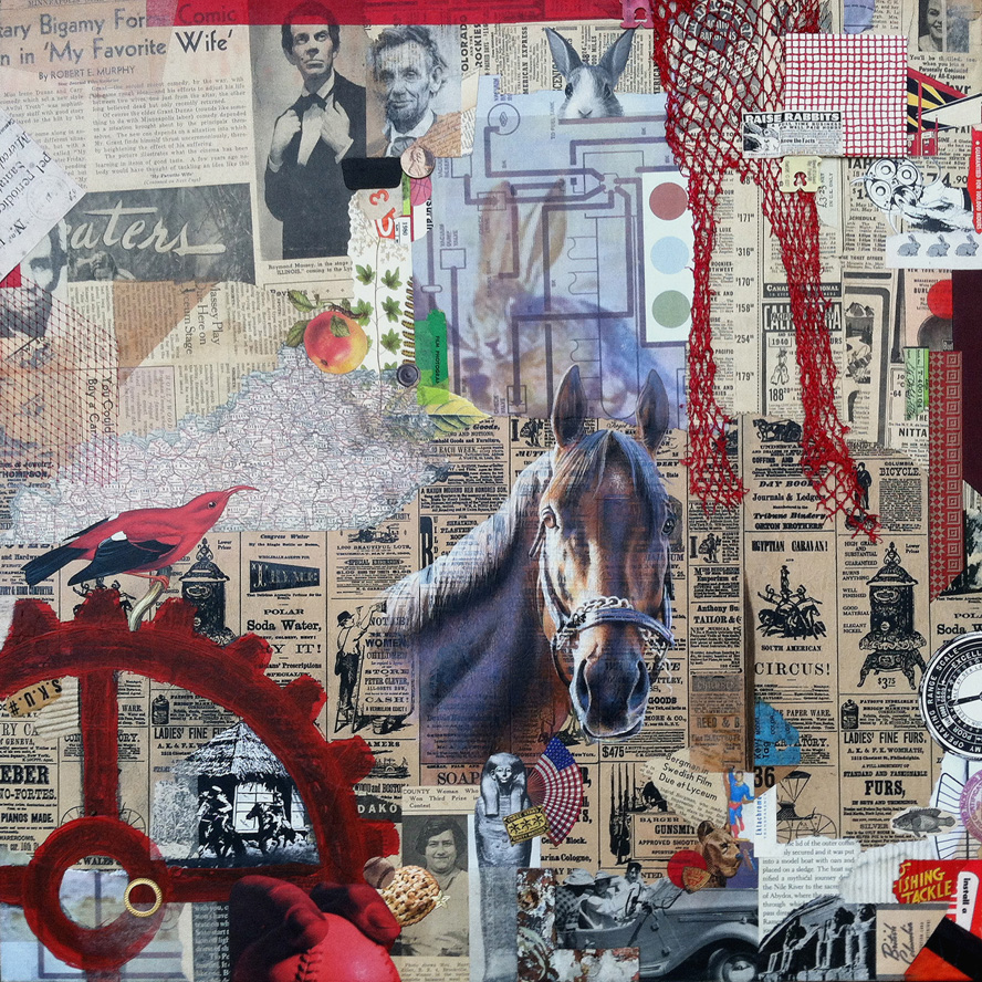 finish by John Andrew Dixon for Kentucky Sovereign ~ a collaboration with R H Hunt ~ collage on structured panel