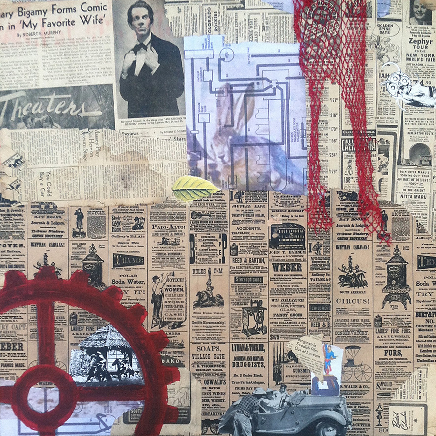 collage collaboration ~ the start by Robert Hugh Hunt for Kentucky Sovereign ~ collage on structured panel