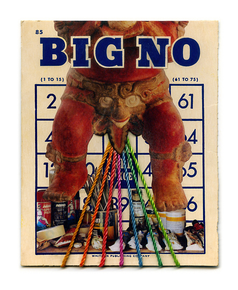 Big No-No ~ collage collaboration on bingo card by Terry Flowers and John Andrew Dixon