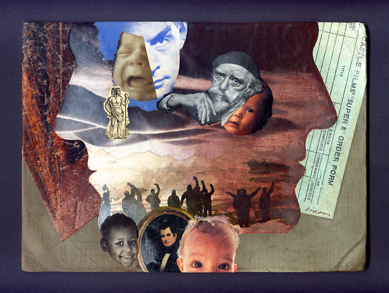 Order of the Janus ~ a collage miniature on recycled book cover by John Andrew Dixon