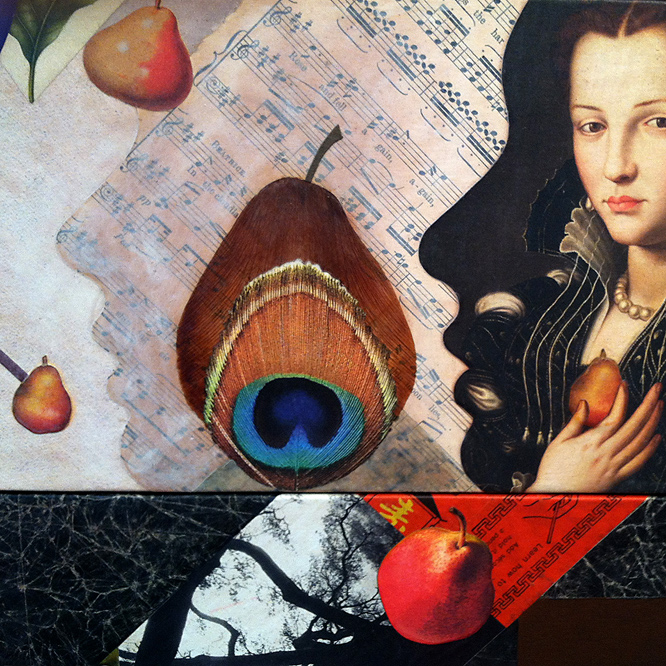 detail from Pearallelograms by John Andrew Dixon, Danville, Kentucky ~ internationally known as The Collage Miniaturist