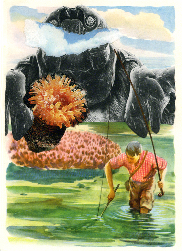 A collage miniature collaboration by John Andrew Dixon and Kevin Brandtner (aka Geronimo Finn)