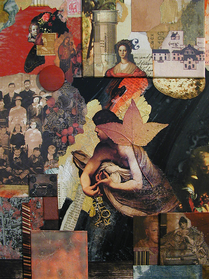 detail from Reliquia ~ collage on framed panel by John A. Dixon