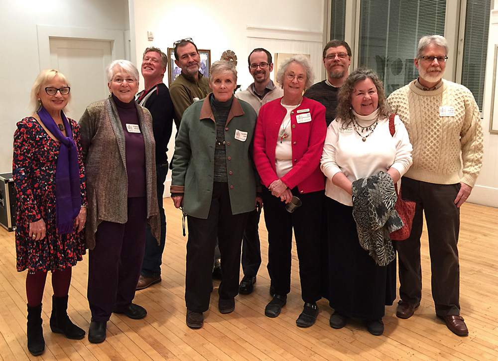 Kentucky-based collage and assemblage artists at the Juxtapose reception, Community Arts Center, Danville, Kentucky