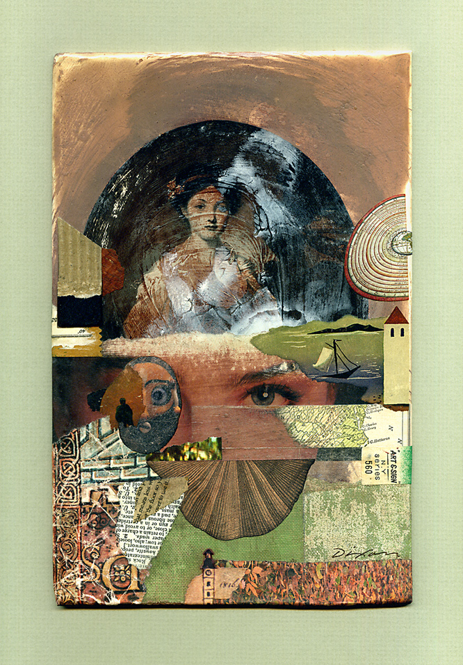 False Attribution ~ a collage miniature on recycled book cover by John Andrew Dixon