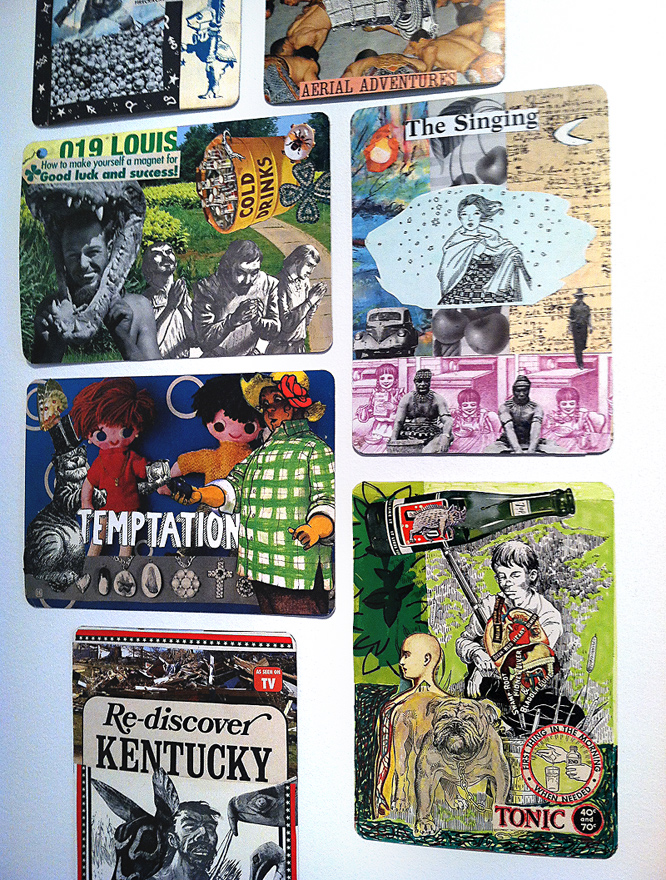 collaborative collage on oversized playing cards ~ Terry Ray Flowers and Robert Hugh Hunt