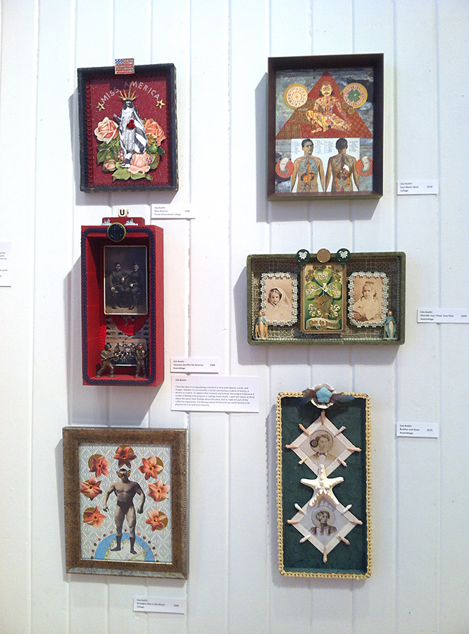 six collage/assemblage artworks by Lisa Austin, Louisville, Kentucky