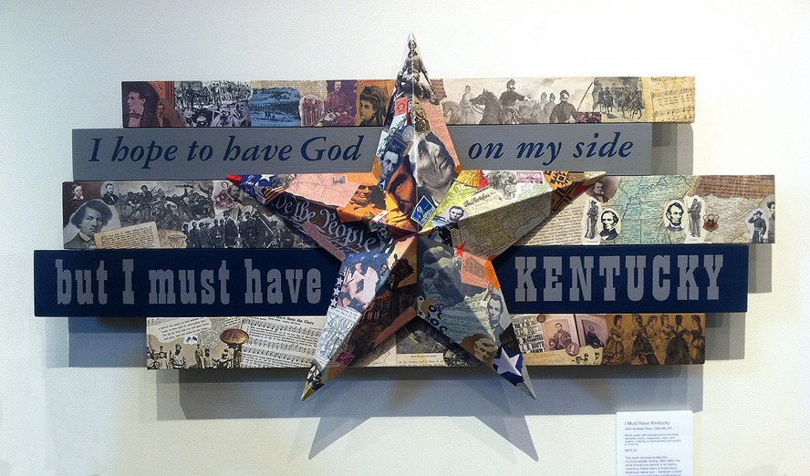 I Must Have Kentucky ~ John Andrew Dixon ~ collage construction ~ wood, metal, found printed material