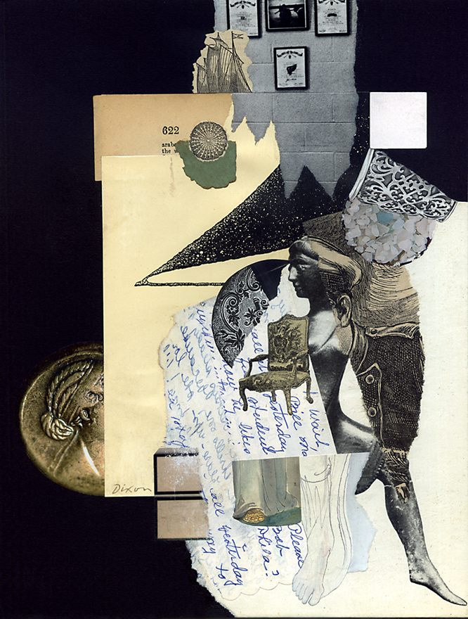 Tinged By Whispered Accounts ~ a collage miniature by John Andrew Dixon, Danville, Kentucky