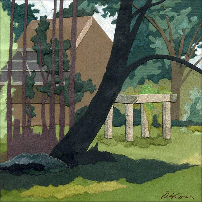 Margo's Arbor ~ plein air collage miniature by J A Dixon