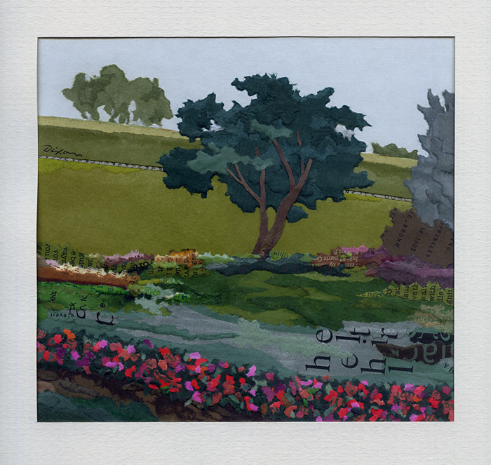 Garden of Alice ~ plein air collage miniature by J A Dixon