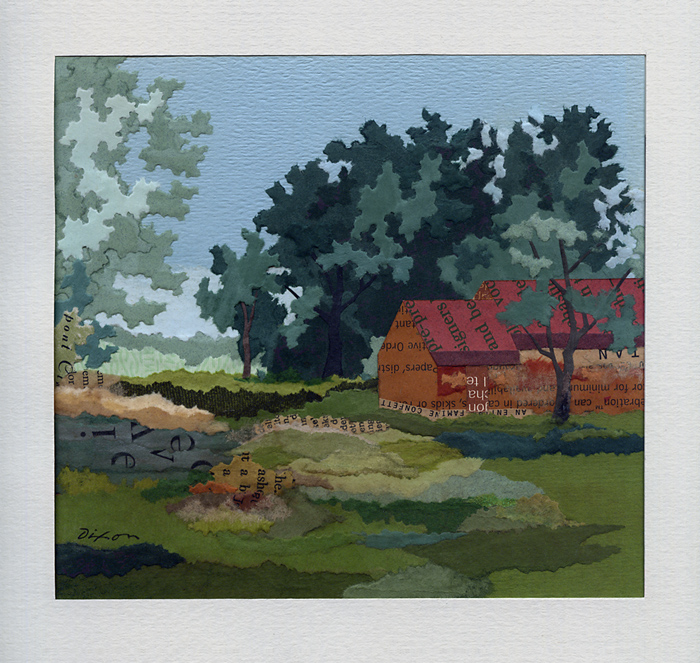 Old Quarters ~ plein air collage miniature by J A Dixon ~ at Cambus-Kenneth Farm, Danville Kentucky