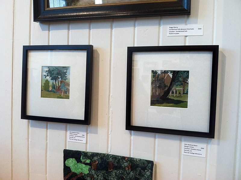 two plein air collage miniatures by artist John Andrew Dixon on display at the PAACK show, Danville, Kentucky