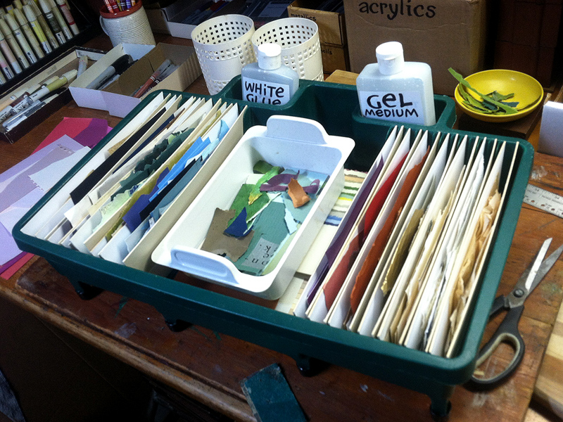 Plein Air Collage Kit based on a re-purposed dish drainer ~ by J A Dixon, collage artist from Danville, Kentucky
