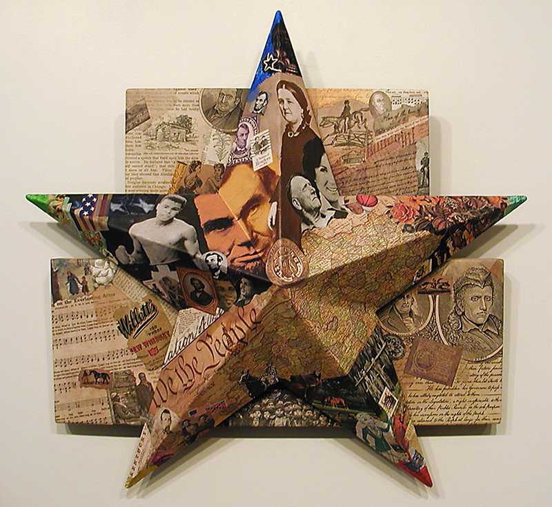Star of Commonwealth ~ John Andrew Dixon ~ collage construction ~ wood, metal, found printed material