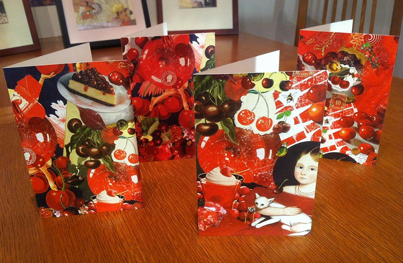 Note cards by J A Dixon featuring details of 'Cherry Balm,' collage on canvas