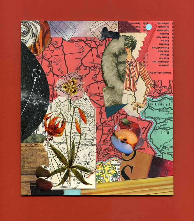 Coordinates Askew ~ collage miniature by John Andrew Dixon ~ Danville, Kentucky ~ Kentucky Crafted Mixed Media Artist