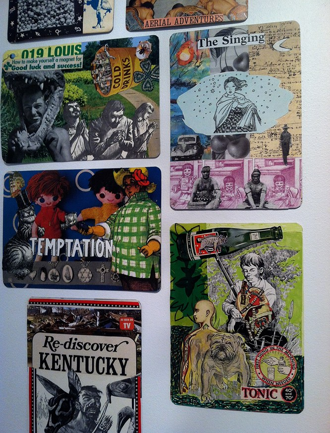 collaborative collage on playing cards from 'Hillbilly Voodoo' series ~ R H Hunt and T R Flowers