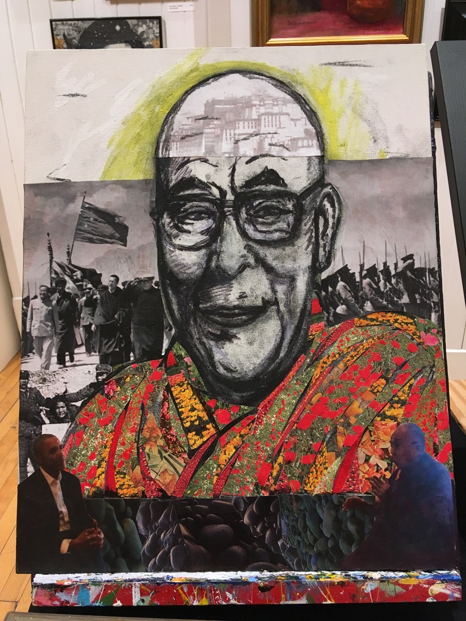 Robert Hugh Hunt's in-process portrait of the 14th Dalai Lama ~ newest addition to his '20th-Century Icons' series