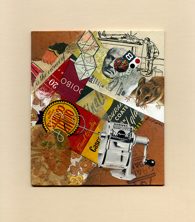 Mouse in the House ~ collage miniature by John Andrew Dixon ~ Danville, Kentucky ~ Kentucky Crafted Mixed Media Artist