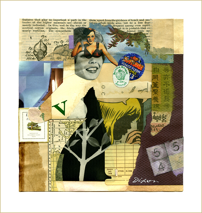 V: To Beds Less Sanctified ~ a collage experiment on paper by John Andrew Dixon