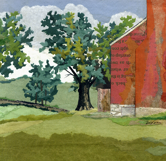August Afternoon ~ plein air collage miniature by J A Dixon