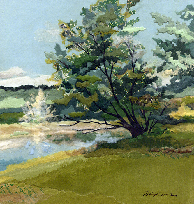 Fountain and Shadow ~ plein air collage miniature by J A Dixon