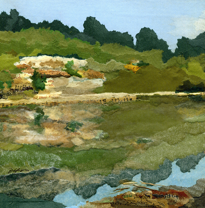 Reflection on an Outcrop ~ plein air collage miniature by J A Dixon