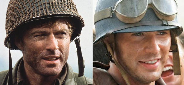 Robert Redford and Chris Evans in Helmets