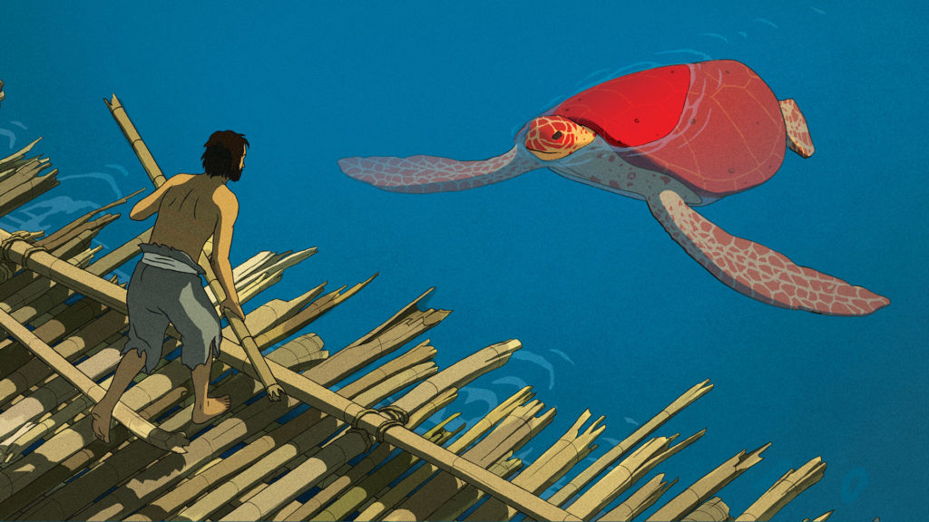 A man on a raft regards a large red turtle in the water